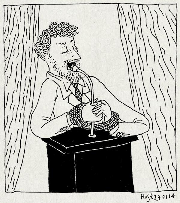 tekening 2439, affiche, bellevue. de eerste vrouw, geboeid, handboeien, katheder, los, microfoon, speech, spreekgestoelte, vast, vastgebonden