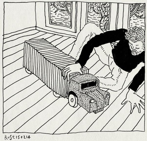 tekening 2458, afscheid, hans, model, ome hans, spelen, steemans vrachtdienst, vrachtwagen, zelfgemaakt, ziek