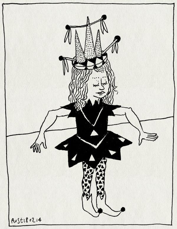 tekening 2461, alwine, kindertekening, pakje, prinses, selfie, zelfportret