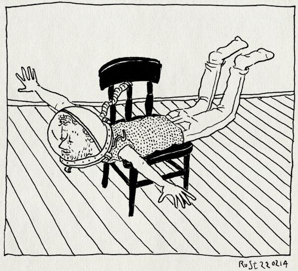 tekening 2465, astronaut, droogzwemmen, droogzweven, film, gravity, helm, stoel