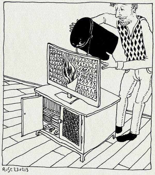 tekening 2466, doven, eind, eindceremonie, emmer, olympische spelen, os14, sochi, sotsji, televisie, uitmaken, vlam, water