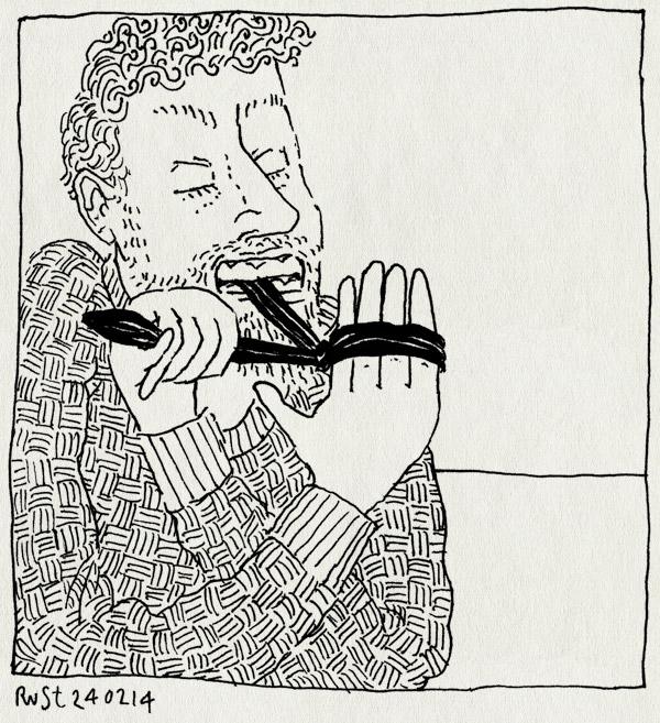 tekening 2467, hand, jeuk, neuspulken, tanden, trekken, vast, vastmaken