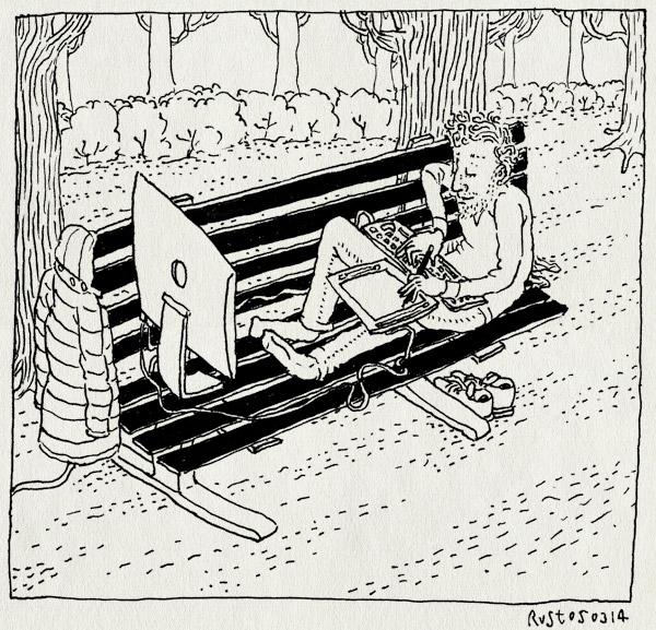 tekening 2476, amsterdam, bankje, buiten, buitenwerken, laptop, lente, park, plantagebuurt, schoot, wacom, zon