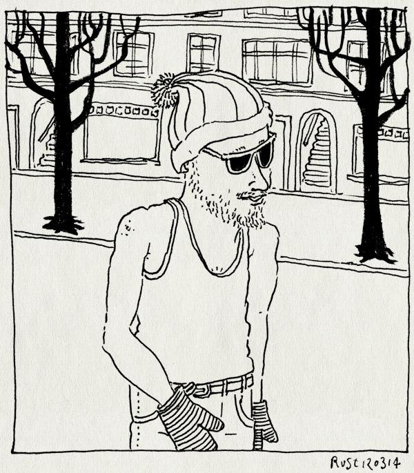tekening 2483, kou, lente, muts, singletje, straat, wanten, warm, winter, zonnebril