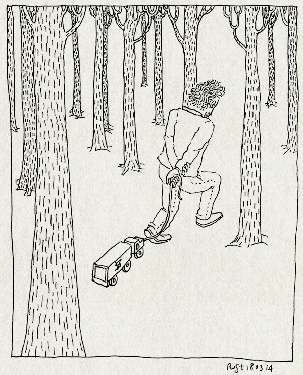 tekening 2489, autootje, begrafenis, bomen, IJmuiden, ome hans, steemans vrachtdienst