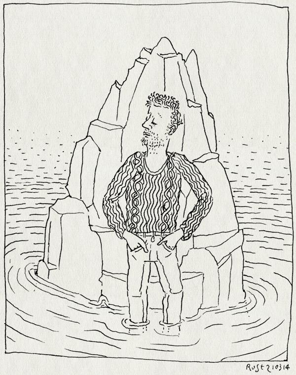 tekening 2492, affiche, op sterk water, osw, rots, water, werk
