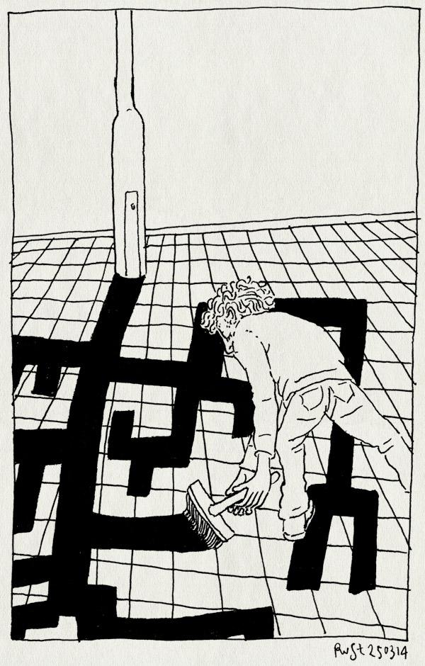 tekening 2496, boom, lantaarnpaal, schaduw, schilderen, stoep, verf, verven