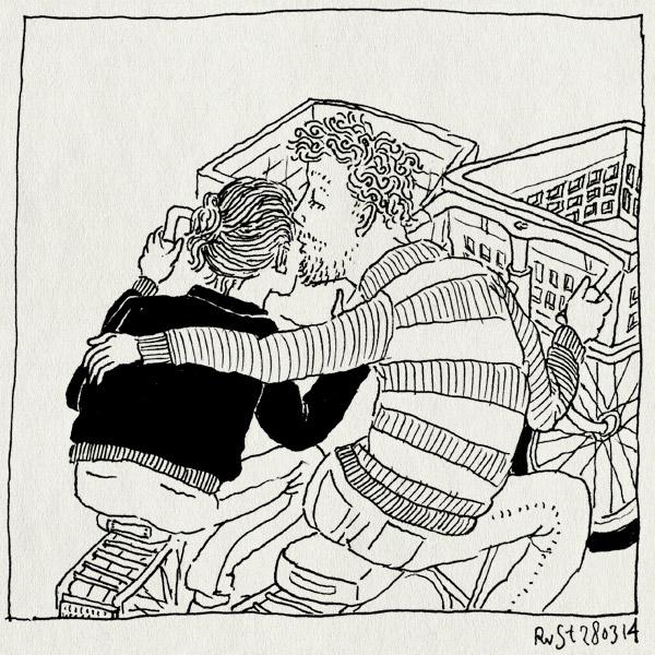 tekening 2499, doei, fiets, fietsen, fijne dag, kratjes, kus, links, martine, rechts