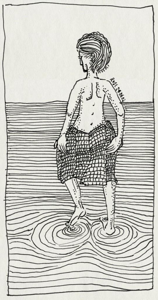 tekening 25, handdoek, pootjebaden, vlecht, water