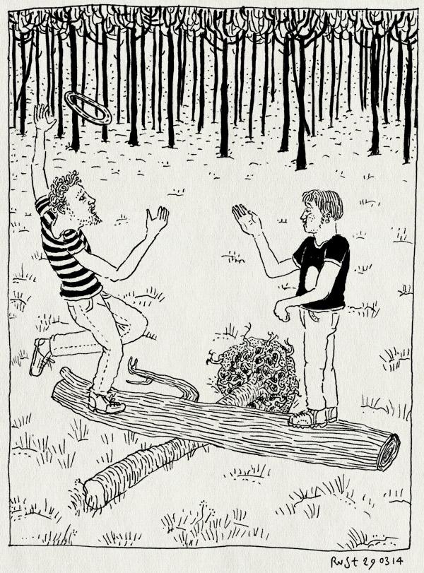 tekening 2500, 's-heerenberg, 2500, balans, boomstronk, bos, evan, frisbee, grens, jippie, jubileum, spelen, wip, zeddam