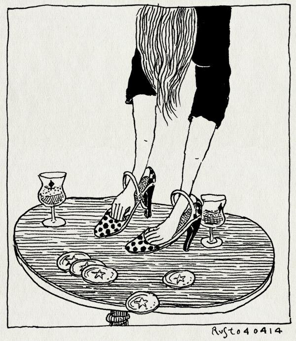 tekening 2506, bier, bierviltjes, café, dansen, floor, hakjes, maaike, maaike hartjes, op tafel dansen, pieper, pumps, tafel