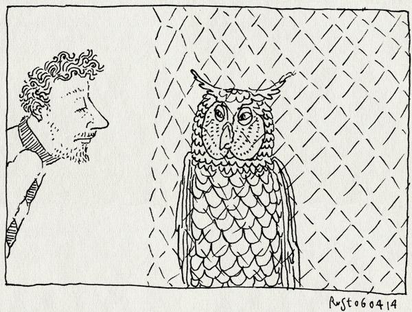 tekening 2508, beesd, de paay, dierenpark, hek, hok, oehoe, staarwedstrijd, uil