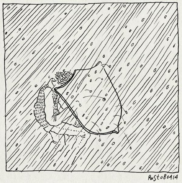 tekening 2510, hagel, regen, schild, schuilen