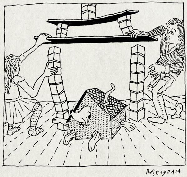 tekening 2511, alwine, blokken, broer, gezellig, hondje muis, huisje, midas, samen, schermpjesverbod, spelen, zus