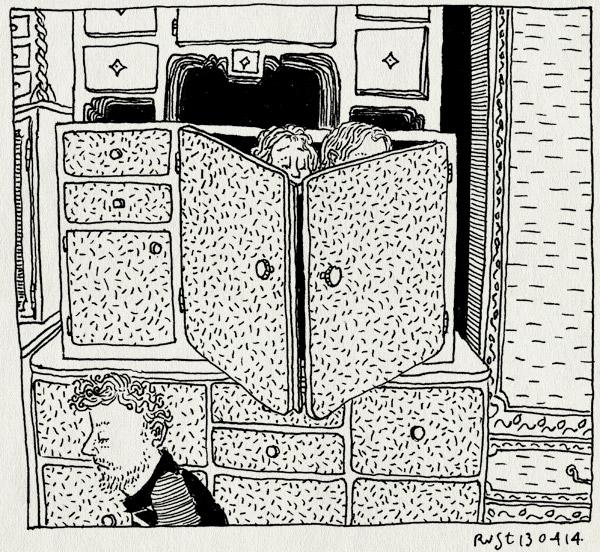 tekening 2515, alwine, kast, midas, van dijk en ko, verstoppertje, zoeken