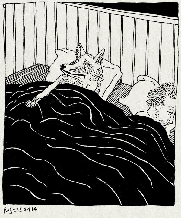 tekening 2517, bed, blaffen, hoesten, hond, kuchen, martine, nacht, wolf, ziek
