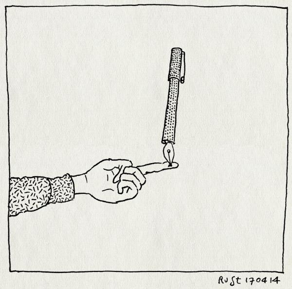 tekening 2519, balanceren, gijs, inkt, macedonie, pen, vinger, vlek, vulpen