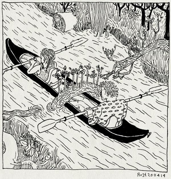 tekening 2522, biesbosch, boom, boomstam, dordrecht, kano, kanoën, kanovaren, martine, natuur, vast