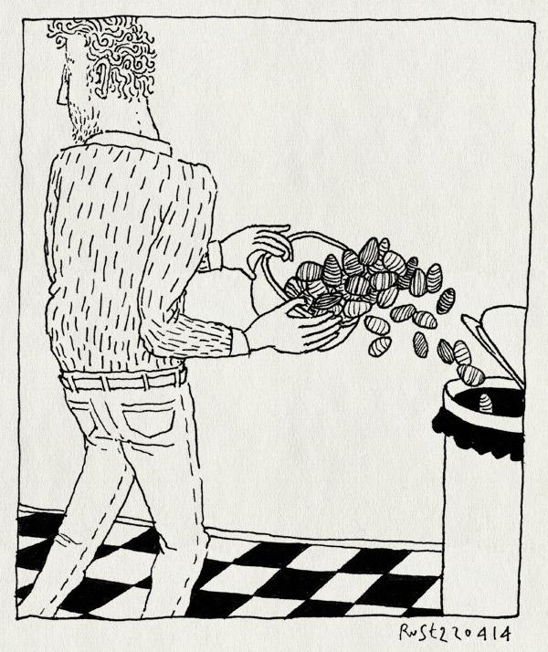 tekening 2524, klaar, paaseieren, prullenbak, vies, voorbij, vuilnisbak, weg