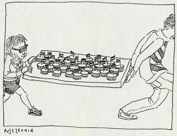 tekening 2528, bril, cupcakes, kastdeel, koningsdag, maasstraat, midas, oranje, tafel, verkleed, vlaggetjes