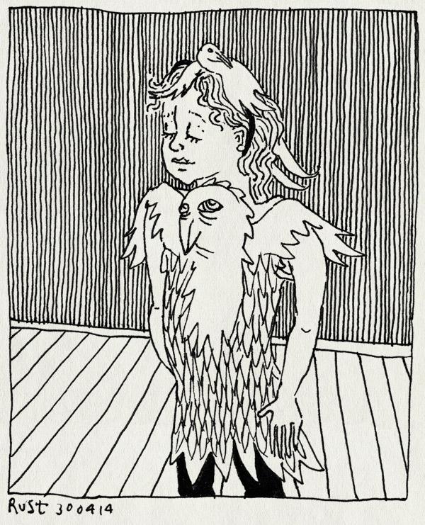 tekening 2532, alwine, diadeem, hoedje, kinderkleding, kleren, nieuwe kleren, vogelhoedje, vogels, vogelshirt