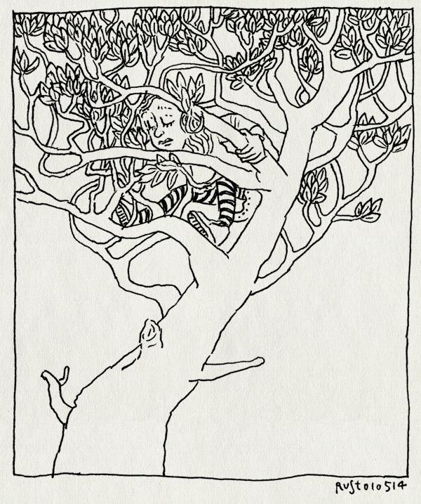 tekening 2533, alwine, boom, boomklimmen, hoog, stoer, waterval