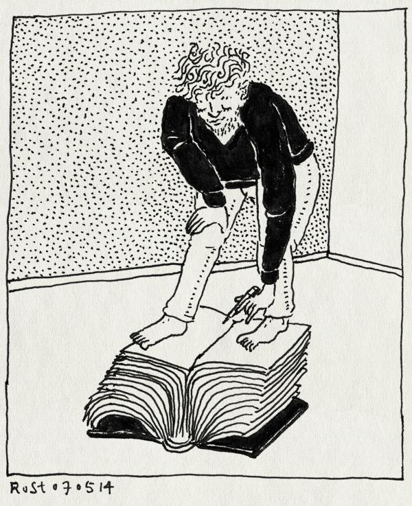 tekening 2539, 2500, blote voeten, dik boek, filmen, jochum, josjah, meta, tekenen, voordekunst