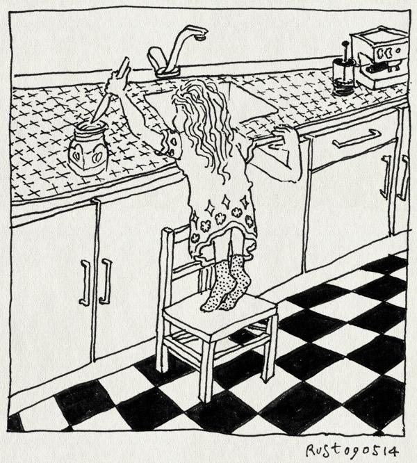 tekening 2541, alwine, broodje, chocopasta, duo choco, keuken, mes, pot, stoeltje, zelf