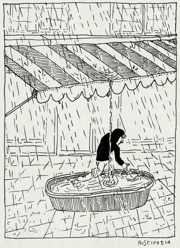 tekening 2542, bad, badje, good, lentefeest, midas, regen