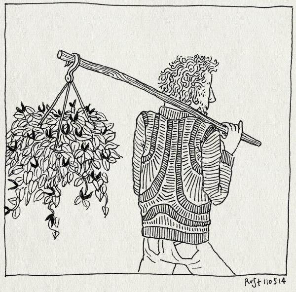tekening 2543, jasmijn, knapzak, mama, moeder, moederdag, plant, stok