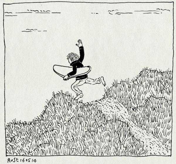tekening 2548, bodyboard, duin, kust, midas, strand, vlieland, zee