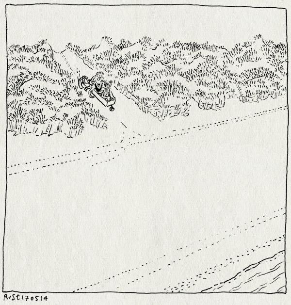 tekening 2549, alwine, bakfiets, duin, kust, leeg, midas, strand, strandopgang, vliehors, vlieland, zee