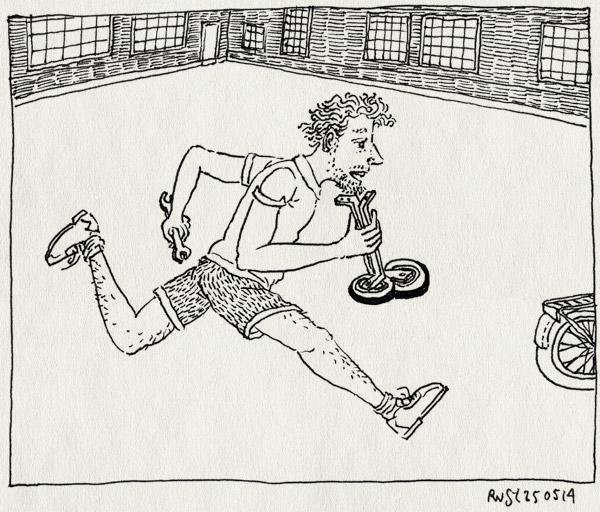 tekening 2557, alwine, dongeplein, dongeschool, fietsen, first, rennen, zijwieltjes