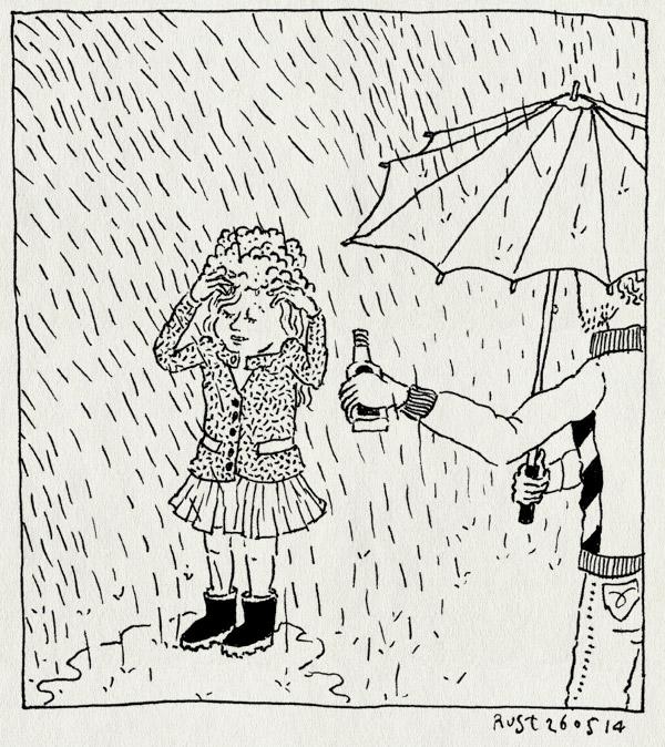 tekening 2558, alwine, eureka, idee, maasstraat, paraplu, regen, shampoo