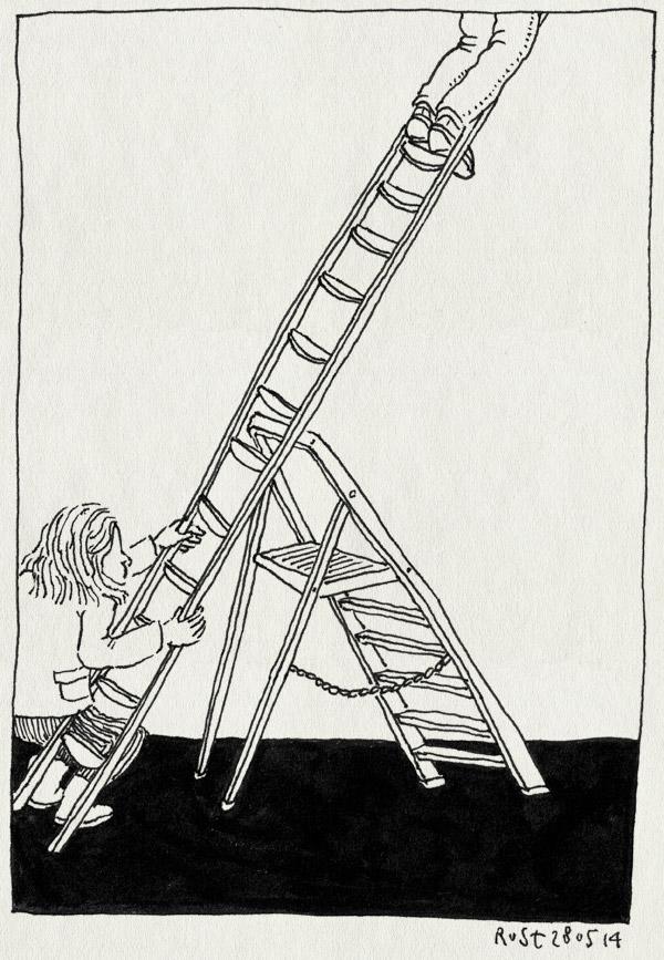 tekening 2560, haarlem, irene, ladder, ladders, opbouw, ophangen, refter, tentoonstelling, trap, trappetje, wiebelig