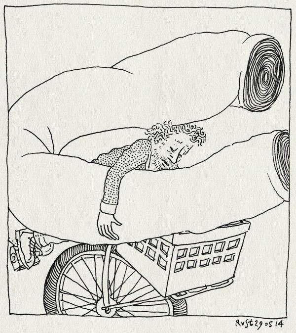 tekening 2561, 2500 tekeningen, doek, fiets, haarlem, opbouw, refter, rol, tentoonstelling, vervoeren