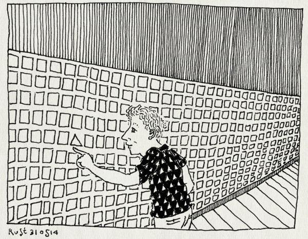 tekening 2563, 2500 tekeningen, die, driehoek, elkedagrust, haarlem, muur, refter, stadhuis, stripdagen, tentoonstelling, vierkant, zoeken