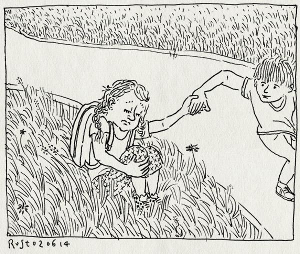 tekening 2565, alwine, avondvierdaagse, gras, moe, rusten, tommy, vrienden