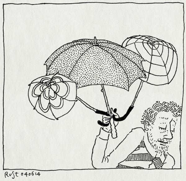 tekening 2567, alwine, avondvierdaagse, groot, klein, midas, paraplu, paraplus, regen, vader