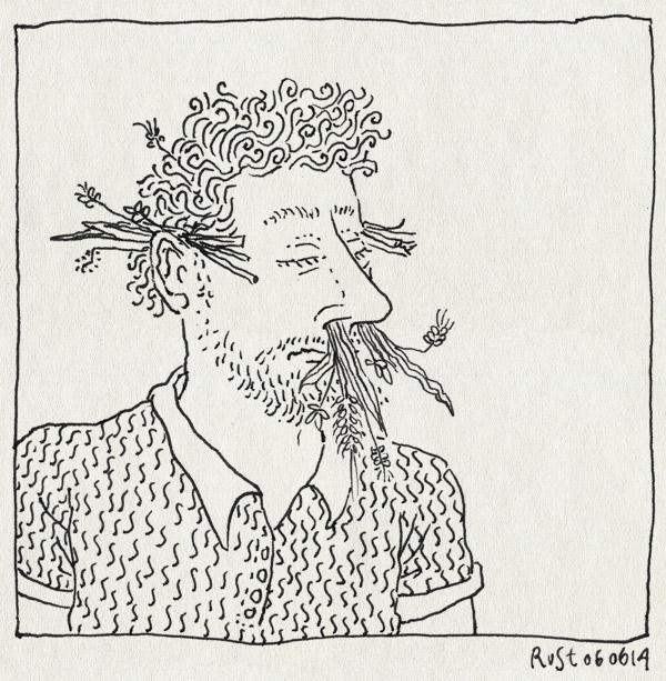 tekening 2569, bloemen, gras, hooikoorts, neus, ogen, oren, pollen