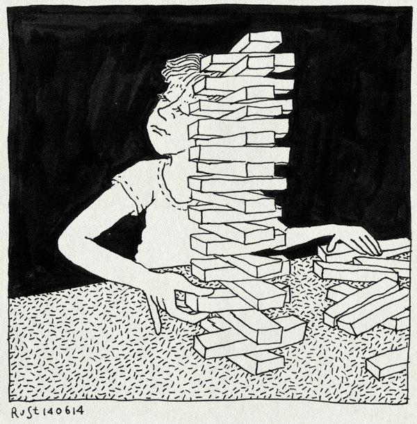 tekening 2577, djenga, evenwicht, feestje, keuzes, klaar, midas, onmogelijk, vallen, yaelle