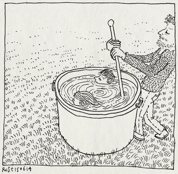 tekening 2578, afscheid, alwine, gras, groningen, janine, midas, roeren, tobbe, tuin, water