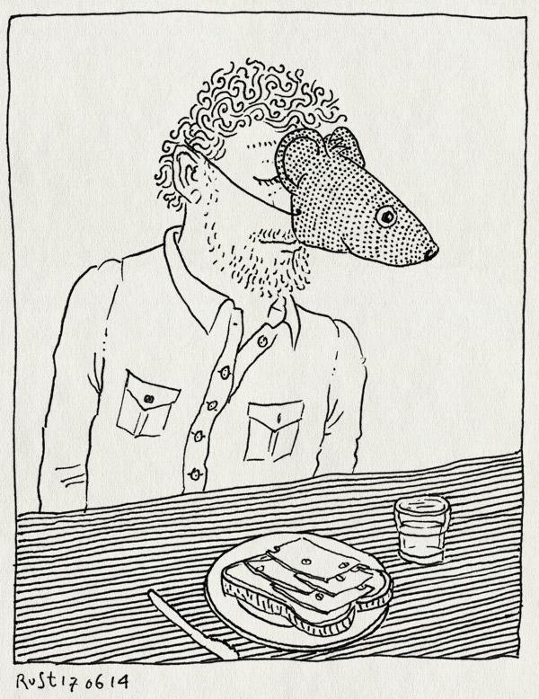 tekening 2580, bellevue, broodje kaas, kleine muis, masker, muis, schetsen, toneelstuk, werk