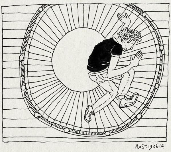 tekening 2582, hamsterrad, looprad, rad, rond, rondrennen, speeltuin, vast, vicieuze circel