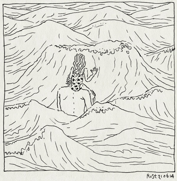 tekening 2584, alwine, branding, egmond, golven, schouders, zee, zwemmen