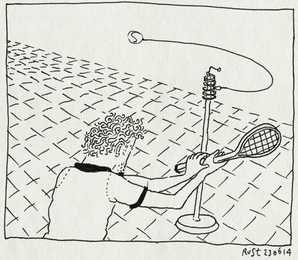 tekening 2586, mattijs, slaan, swingball, tennis, tennispaal