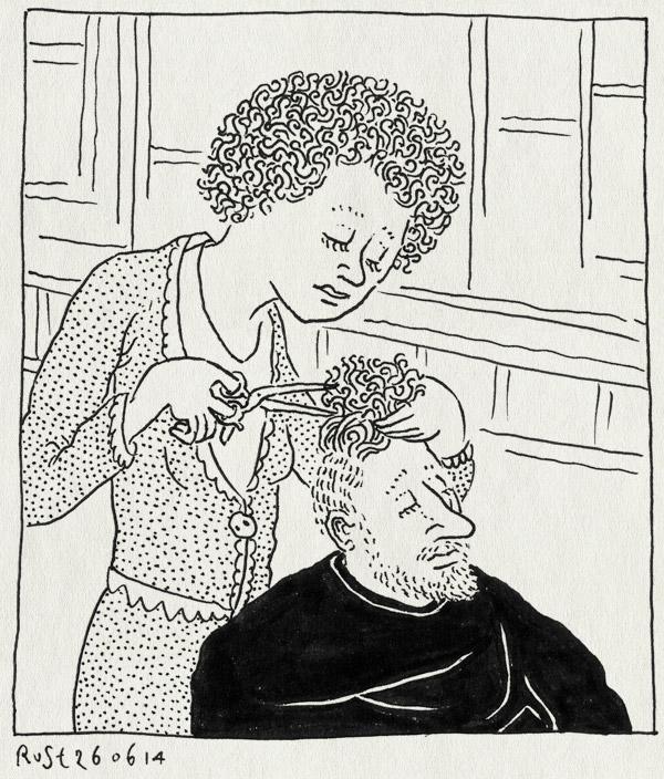 tekening 2589, afro, haar in de wind, kapper, kapster, krullen, schaar