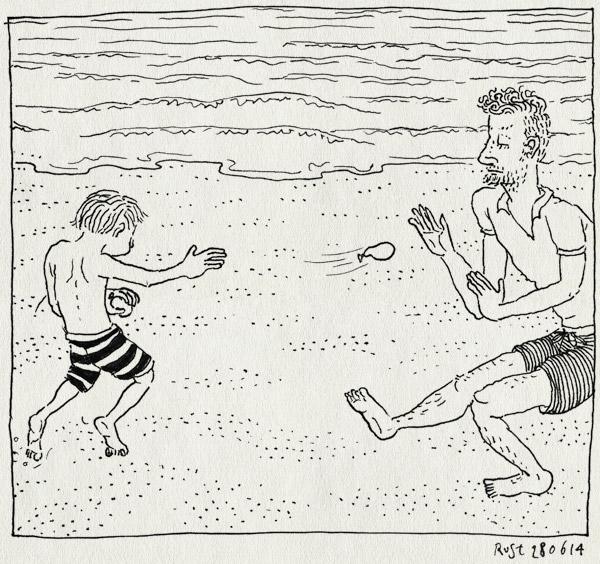 tekening 2591, gooien, IJmuiden, lars, midas, strand, strandfeestje, waterballon, waterballonnengevecht, zee