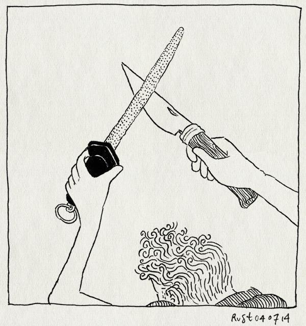 tekening 2597, aanzetstaal, mes, opinel, slijpen, vakantie, vakantie2014, voorbereiding, zakmes