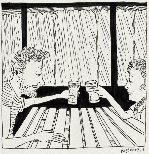 tekening 2600, alcatraz, bier, gustavsfors, hoosbui, martine, proost, regen, vakantie, vakantie2014, värmland, zweden
